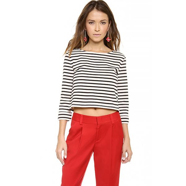 alice and olivia Rolled Sleeve Boxy Crop Top