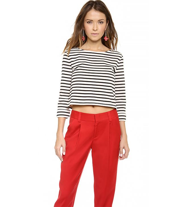 alice and olivia Rolled Sleeve Boxy Crop Top ($154) in Black/Off White