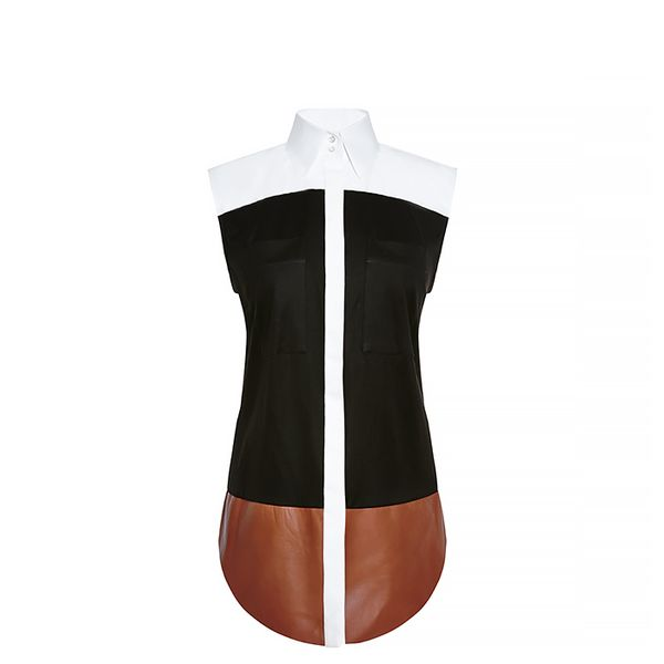 Josh Goot Cotton And Leather Color-Block Shirt