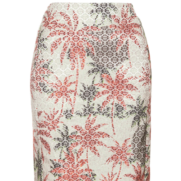 Topshop Palm Jacquard Pencil Skirt ($
