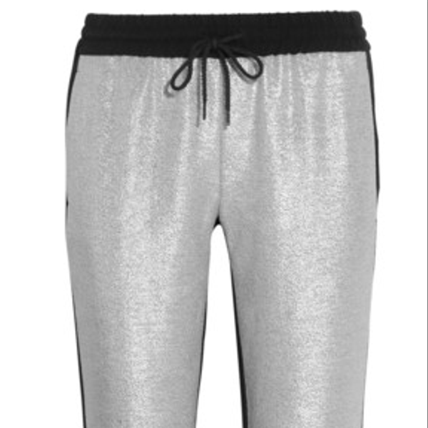 DKNY Metallic Tweed and Crepe Tapered Pants