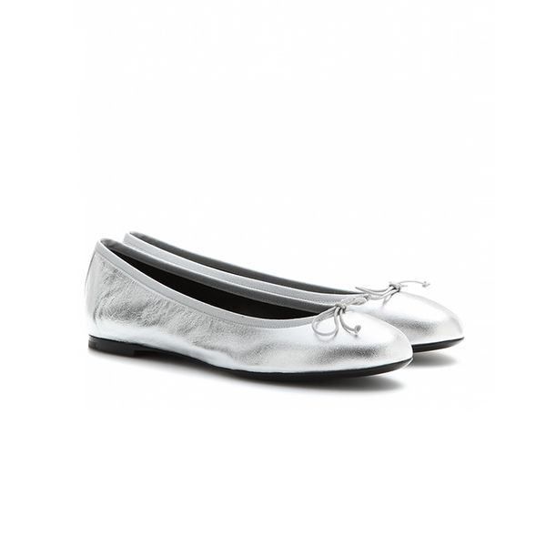 Saint Laurent Dance Metallic-Leather Ballerinas