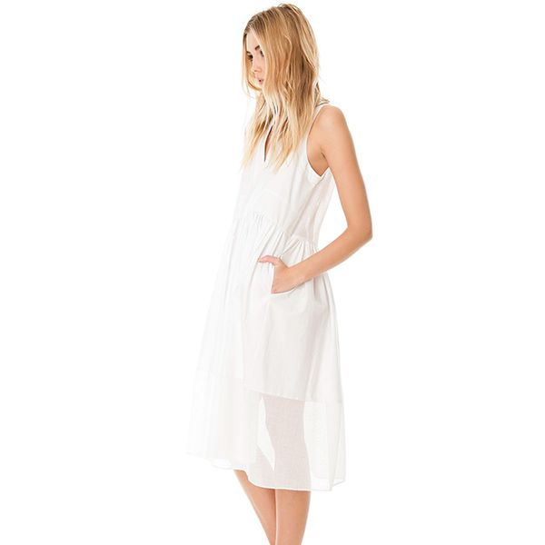 Tibi Ultra Matte Poplin Combo Dress