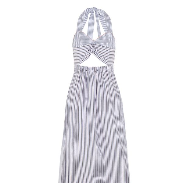 See by Chloé Cutout Striped Cotton Dress