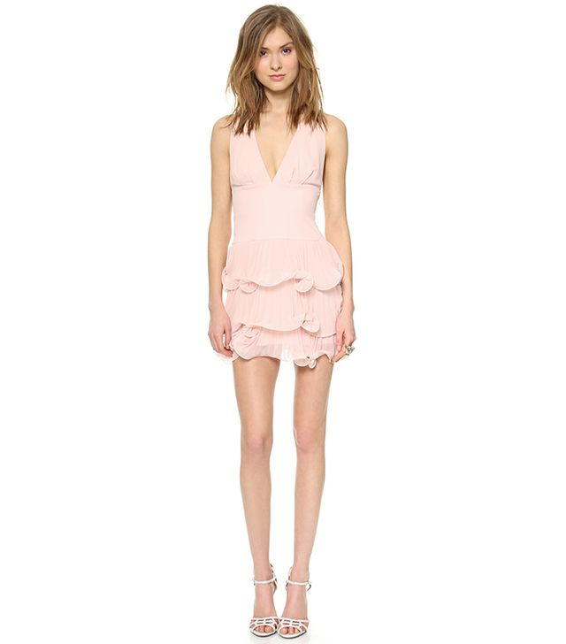 BCBGMAXAZRIA Priscilla Ruffle Layer Dress ($338) in Dusty Pink