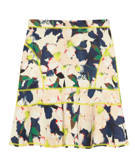 J. Crew Surf Floral-Print Stretch-Scuba Mini Skirt