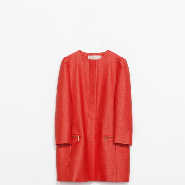 Zara Coat with Gathering On The Shoulder