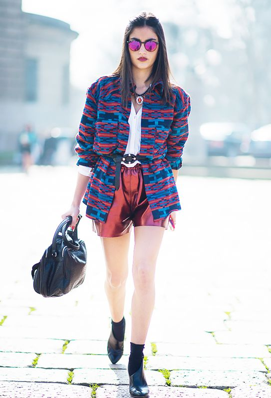 14. Metallic Shorts and Sunglasses + Printed Jacket + Black Belt