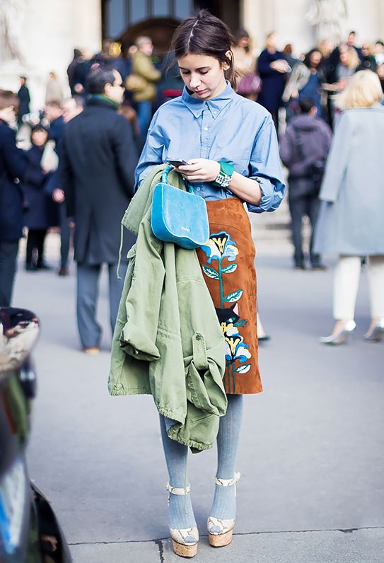 13. Baggy-Fitting Shirt + Printed Midi Skirt