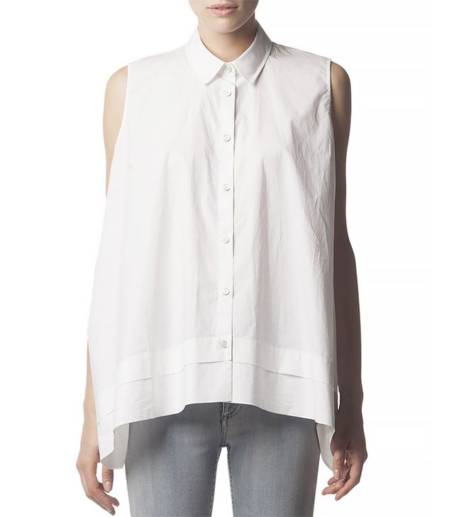 Acne Studios Sleeveless Collared Button-Down Blouse ($220) in White