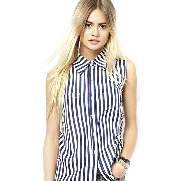Daisy Street Sleeveless Shirt in Stripe