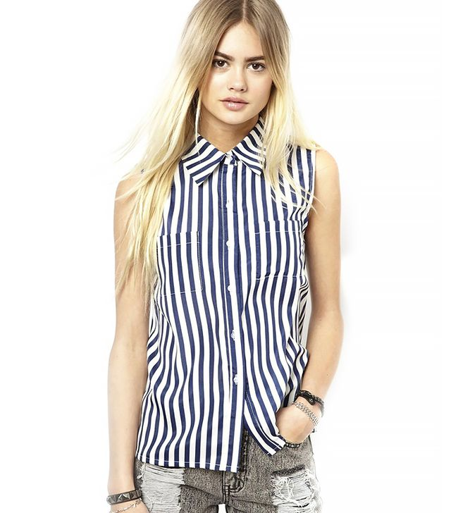 Daisy Street Sleeveless Shirt in Stripe ($48) in French Navy