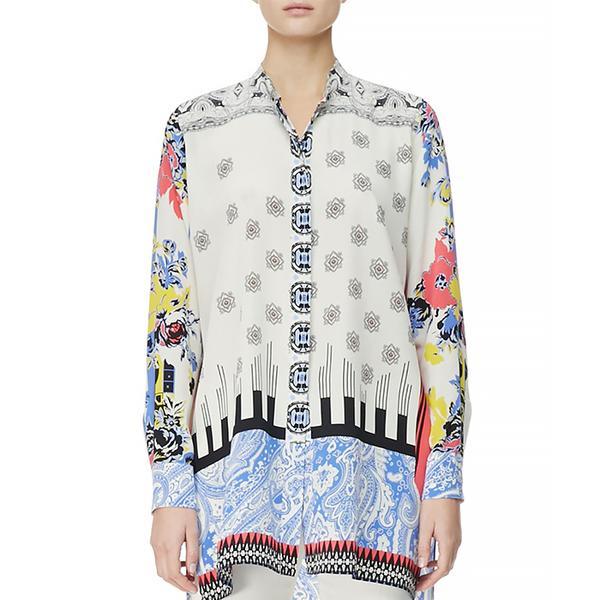 Etro Button-Down Deco Dot & Floral Tunic