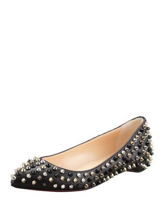 Christian Louboutin Pigalle Spikes Point-Tie Flats