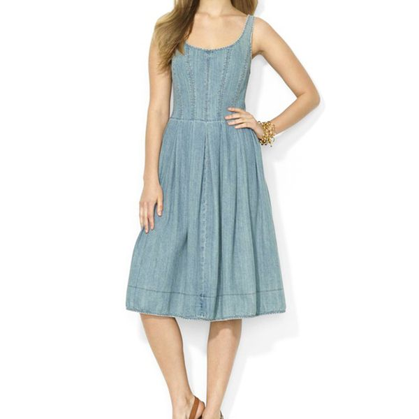 Lauren Ralph Lauren Denim Scoop Neck Dress