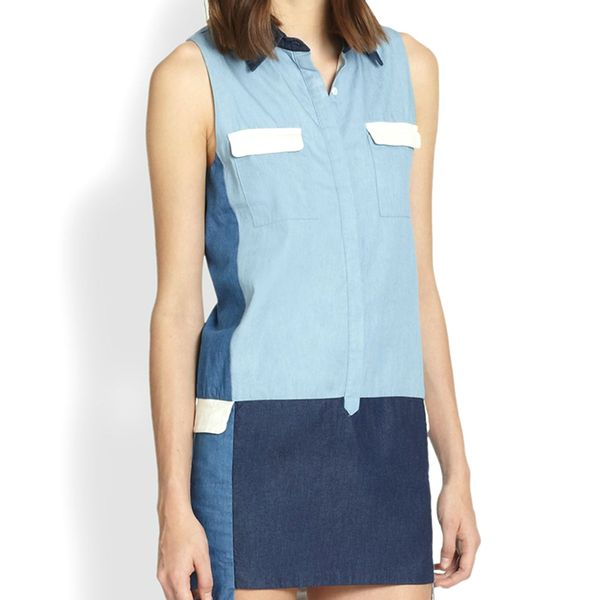 Line & Dot Colorblock Denim Shirtdress