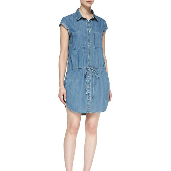 Paige Denim Mila Drop-Waist Denim Shirt Dress