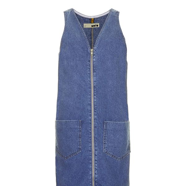 Topshop Moto Vintage Wash Denim Shift Dress