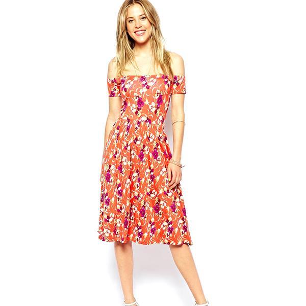 ASOS Midi Bardot Dress in Floral Print