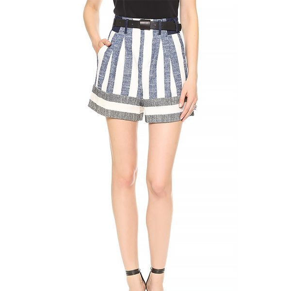 Tibi Blanket Striped Shorts