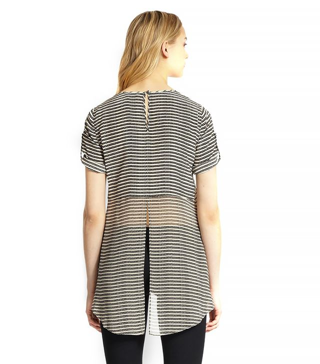 BCBGMAXAZRIA Catherina Silk Striped Split-Back Top