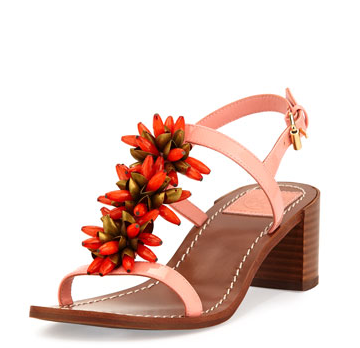 Tory Burch Emilynn Beaded T-Strap Sandals