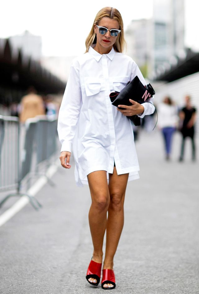 Throw on a shirtdress. 