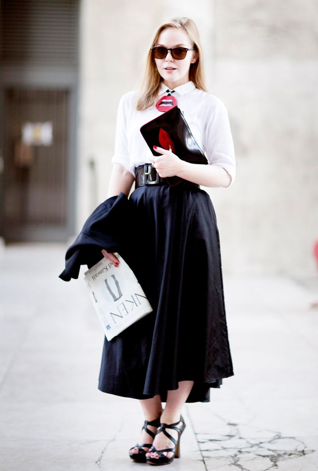 Go for a midi-length skirt. 