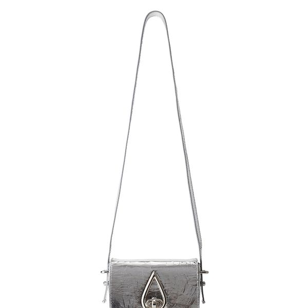 Kenzo Small Metallic Cracked Leather Shoulder Bag