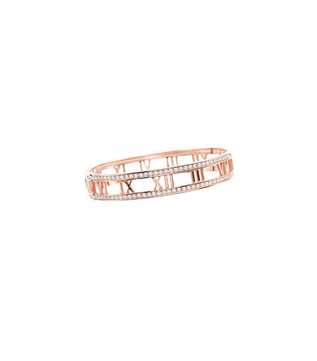 Atlas® Hinged Bangle in 18k rose gold with diamonds