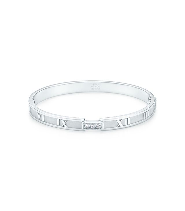 Atlas® Hinged Bangle in 18k white gold with diamonds