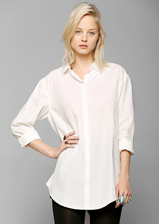 Silence & Noise Tucked & Shirred Button-Down Shirt