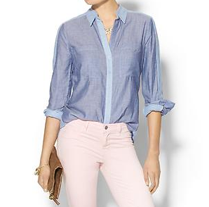BCBGMAXAZRIA Sidnee Long Sleeve Chambray Shirt