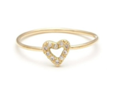 Elisa Solomon 18 Karat Yellow Gold Tiny Heart Ring With White Diamond Melee