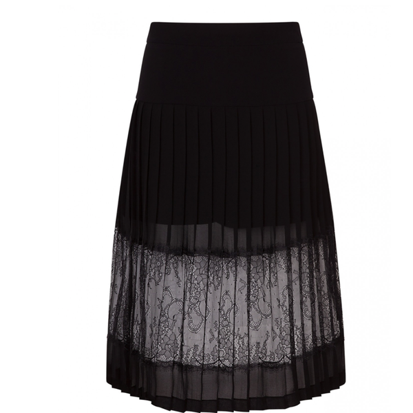 Sandro Jim Pleated Lace Skirt