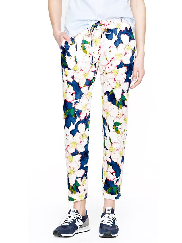 J. Crew Drawstring Pants in Cove Floral