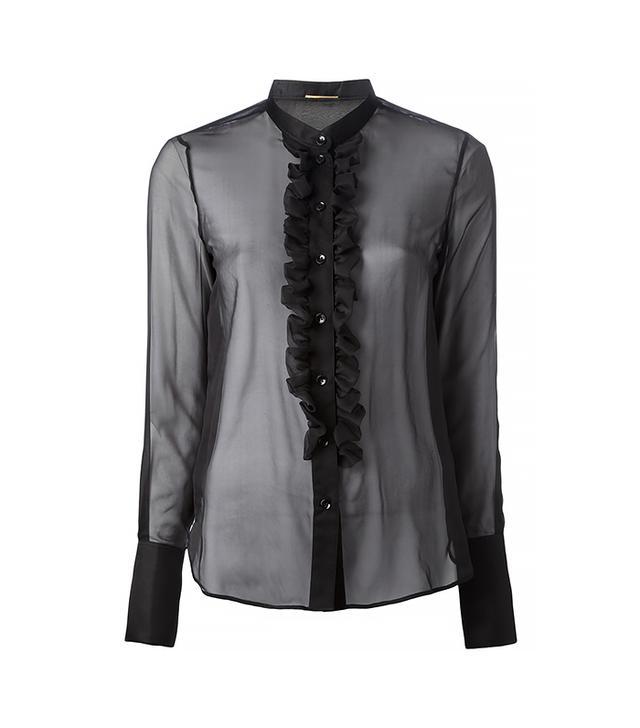 Saint Laurent Ruffle Front Sheer Shirt