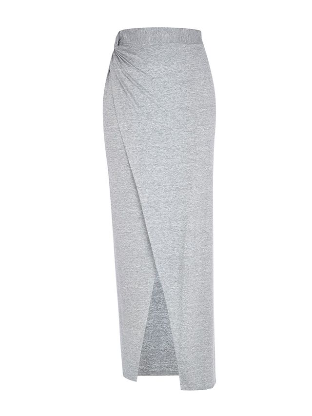 River Island Grey Knotted Split Front Maxi Skirt