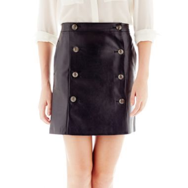 Joe Fresh Joe Fresh Faux-Leather Button-Pleat Skirt