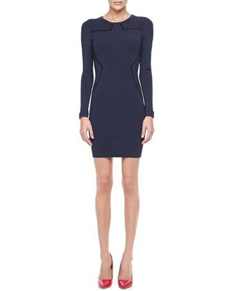 Diane von Furstenberg Diane von Furstenberg Josephine Long-Sleeve Dress with Piping