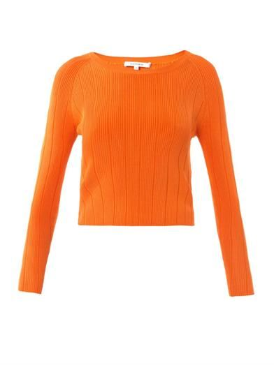 Carven Ribbed-Knit Cropped Sweater