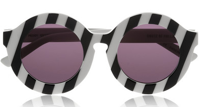 House of Holland Peggy Striped Round-Frame Acetate Sunglasses