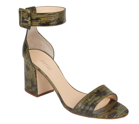 Barneys New York Lizard-Stamped Ankle-Strap Sandals