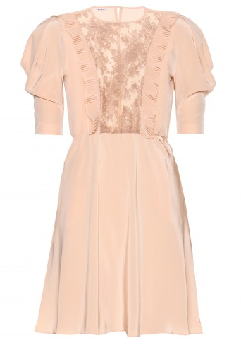 Miu Miu Lace-Trimmed Crepe De Chine Dress