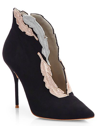 Sophia Webster Tia Suede Feather-Embroidered Ankle Boots