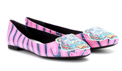 Kenzo Metallic-Leather Ballerina With Embroidered Tiger