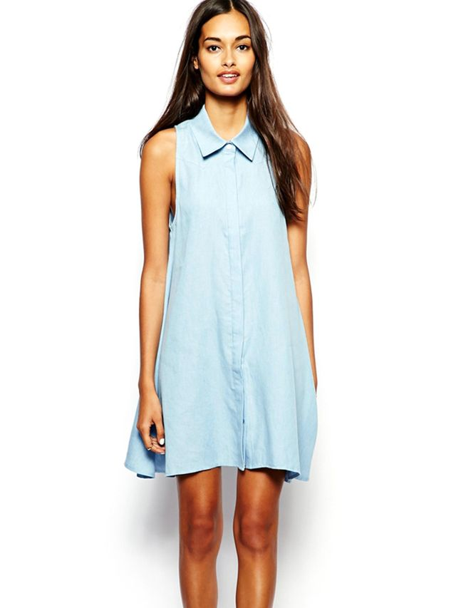 Glamorous Denim Sleeveless Swing Shirt Dress