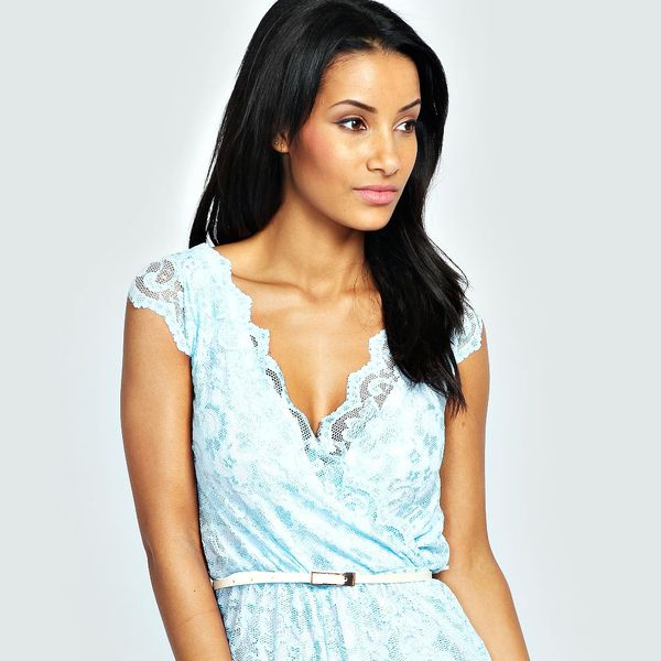 Boohoo Leah All Over Lace Scallop Trim Playsuit