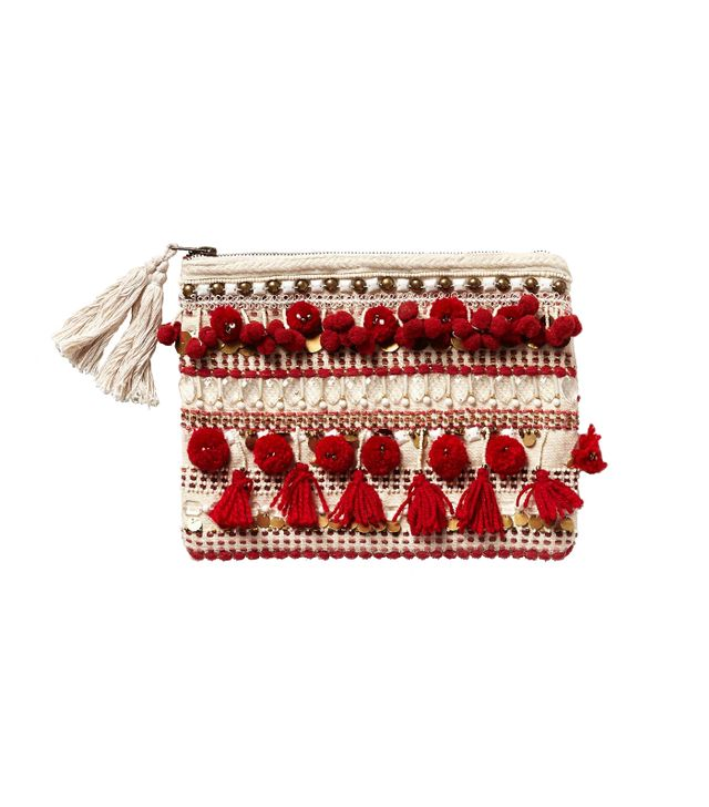 Anthropologie Pom Tasseled Pouch