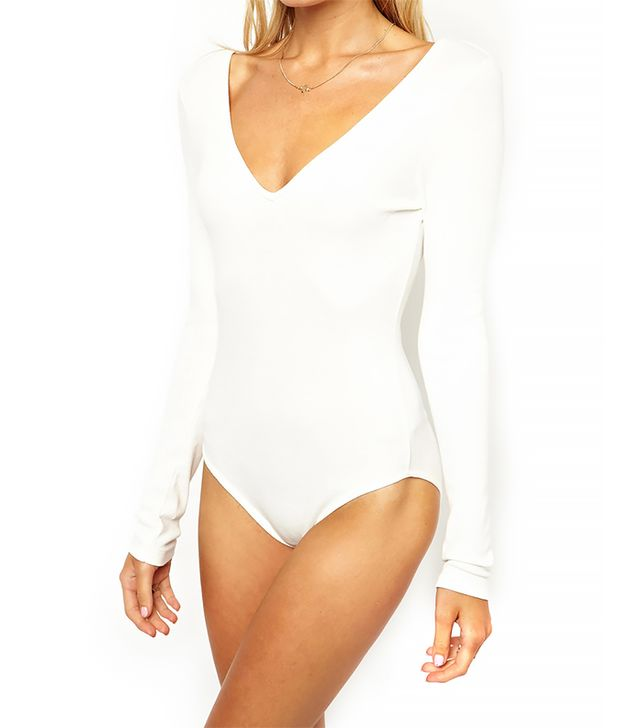 ASOS Body With Deep V In Rib With Long Sleeves